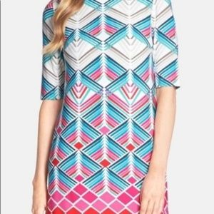 Eliza J | Art Deco Graphic Multicolor Shift Dress
